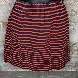 J Crew striped sidewalk paper bag high waist skirt